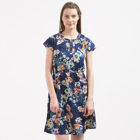 Gorgeous Blue Colored Casual Wear Cotton Western Dress