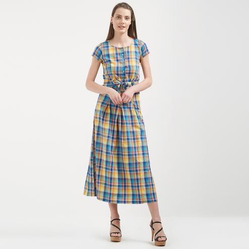 Stunning Multi-Colored Colored Casual Wear Long Cotton Western Dress