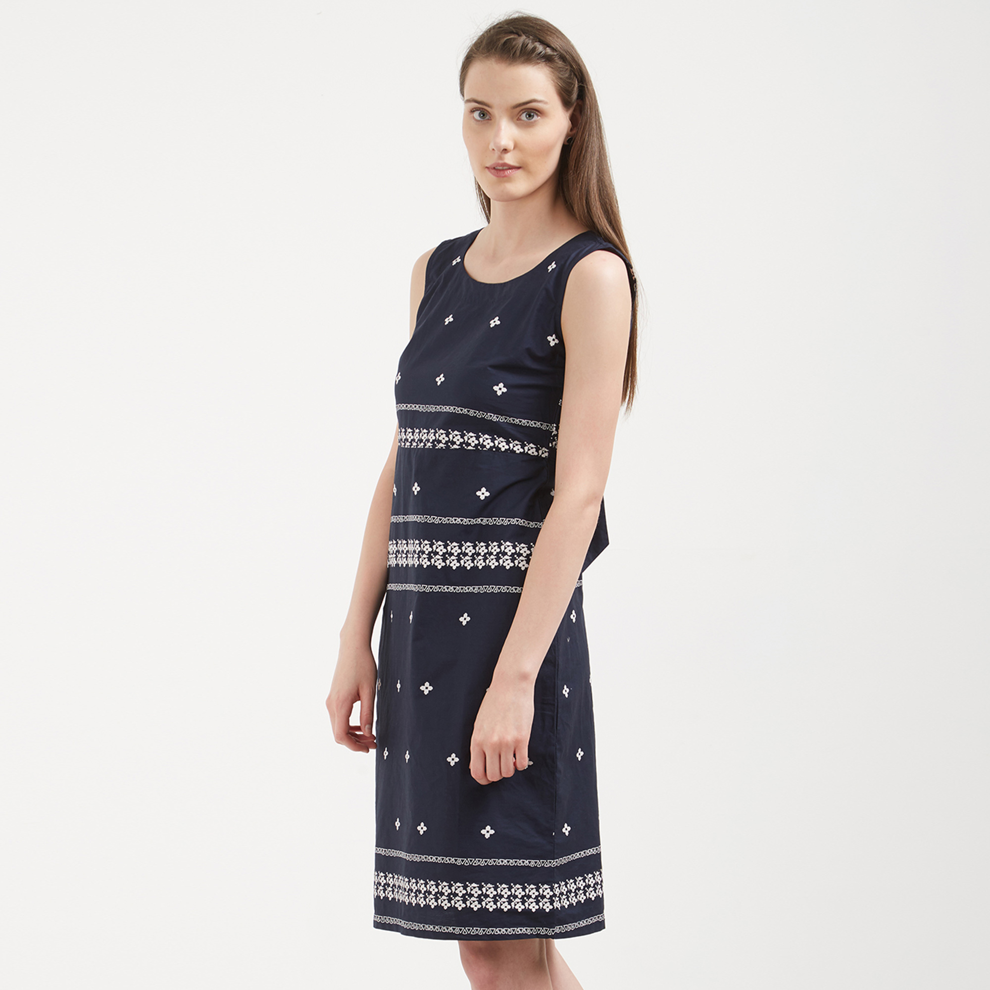 Gorgeous Navy Blue Colored Casual Wear Cotton Western Dress