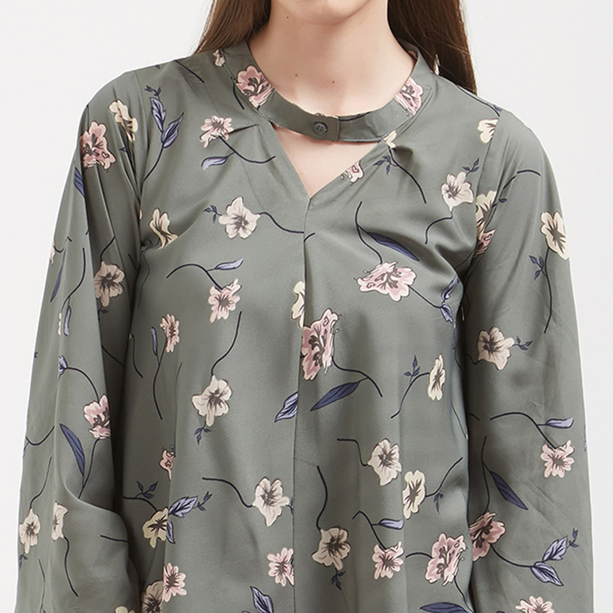 Adorning Grey Colored Casual Wear Pure Crape Western Top
