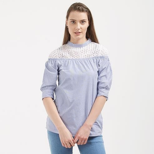 Pretty Blue Colored Casual Wear Western  Crape Top