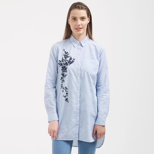 Blooming Blue Colored Casual Wear Western Cotton Top