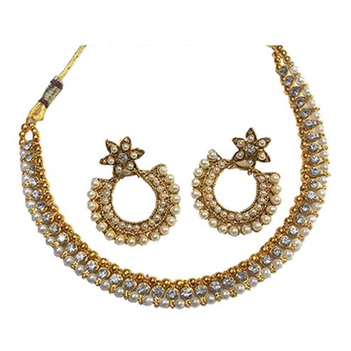 Flower Pearl Polki Necklace Set