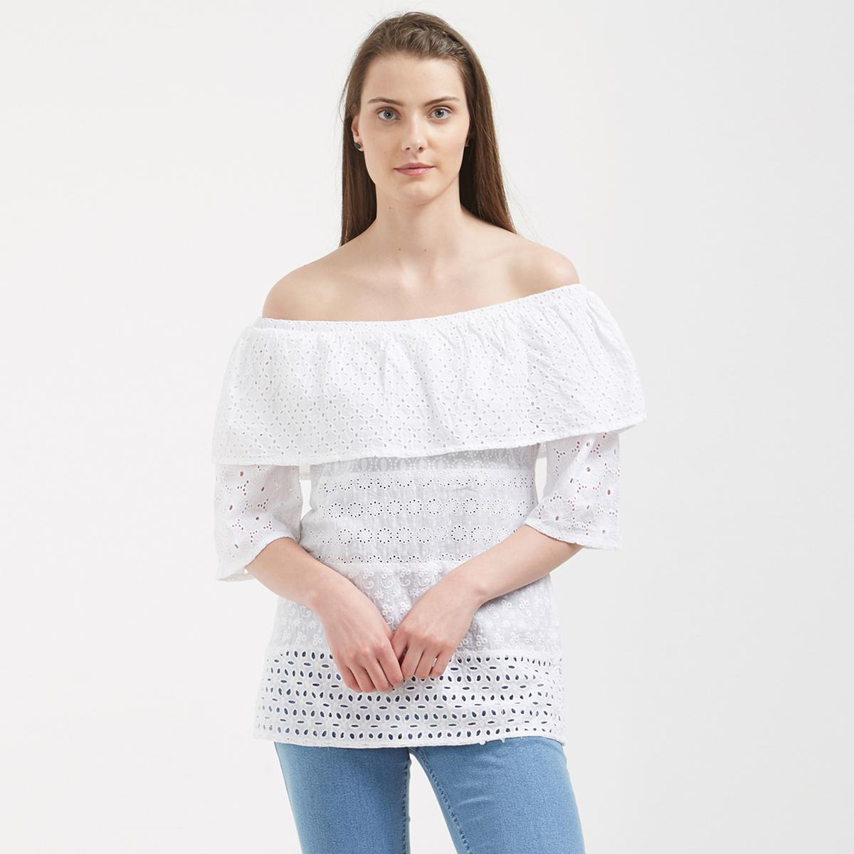 Gorgeous White Colored Casual Wear Western Cotton Top