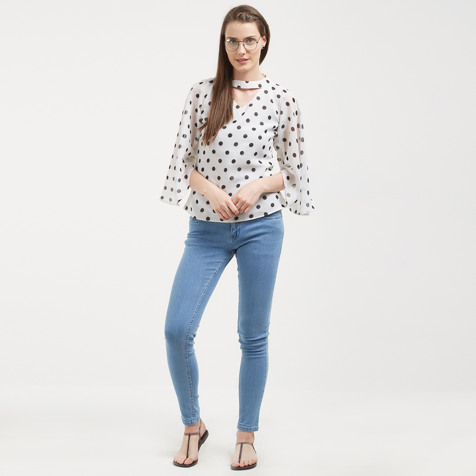 Adorning White Colored Casual Wear Western Top