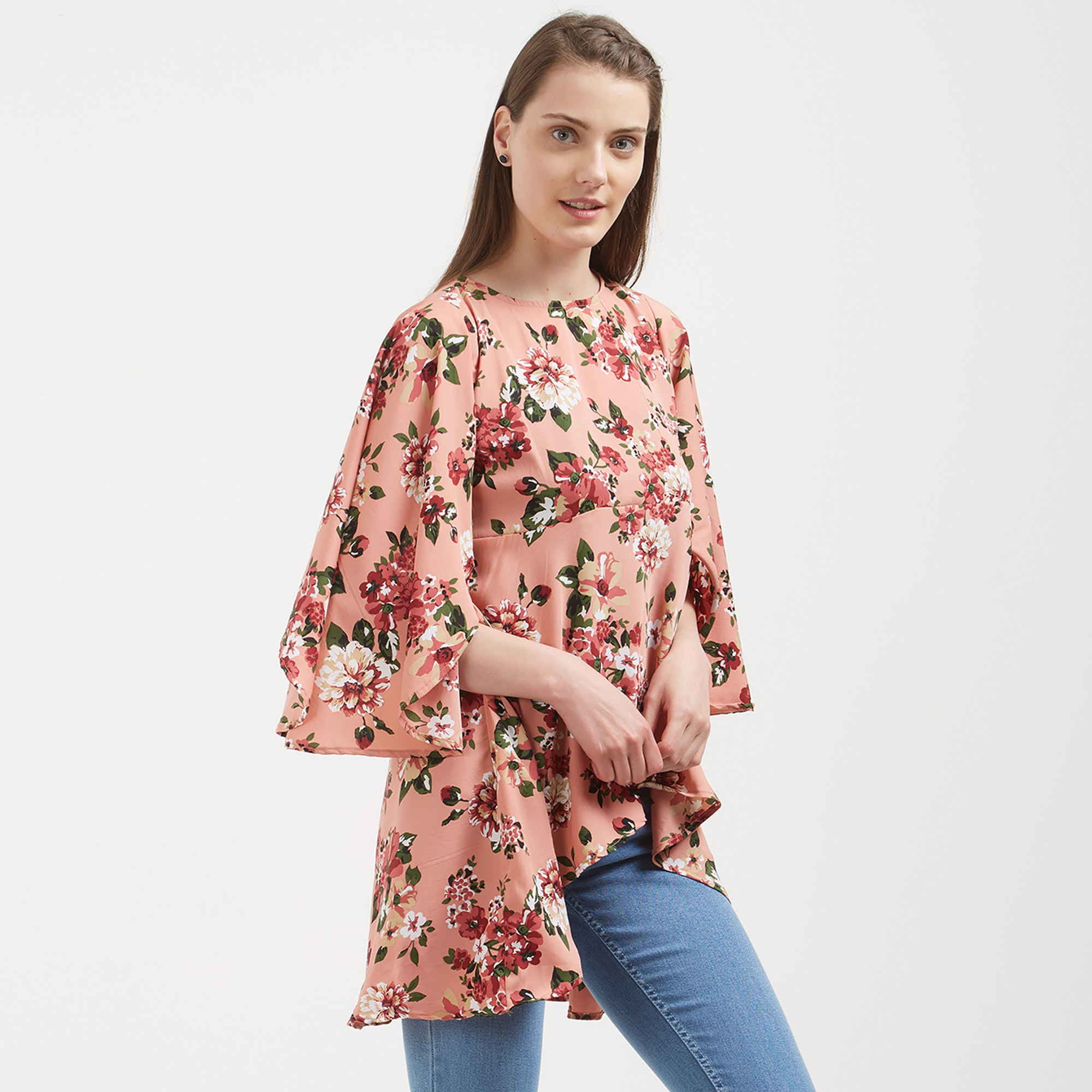Charming Peach Colored Casual Wear Western Top