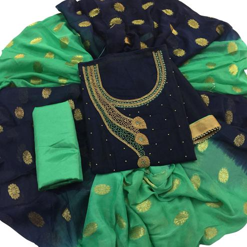 Stylish Navy Blue Colored Partywear Embroidered Modal Dress Material