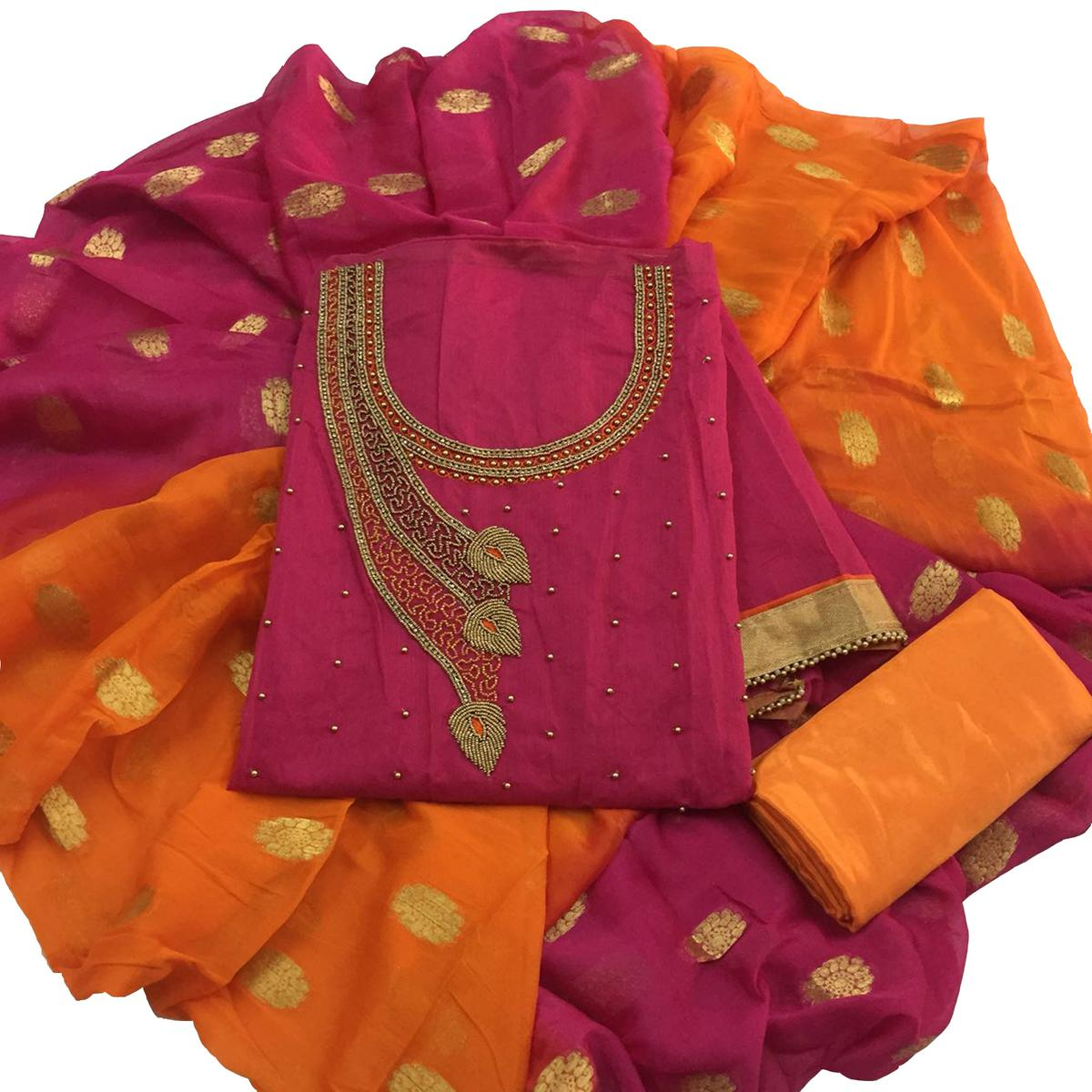 Beautiful Pink-Orange Colored Partywear Embroidered Modal Dress Material