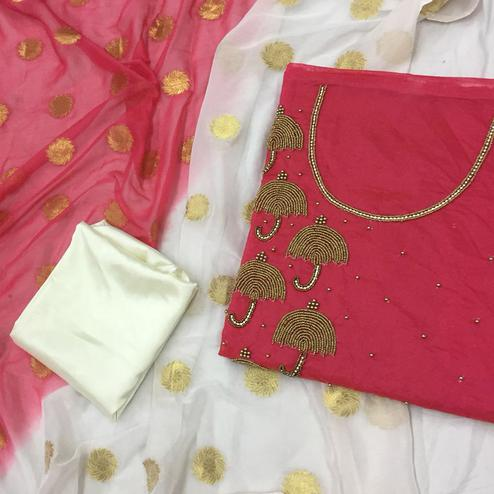 Impressive Pink-White Colored Partywear Embroidered Modal Dress Material
