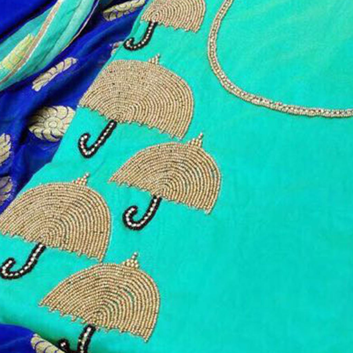 Eye-Catching Aqua Blue Colored Partywear Embroidered Modal Dress Material