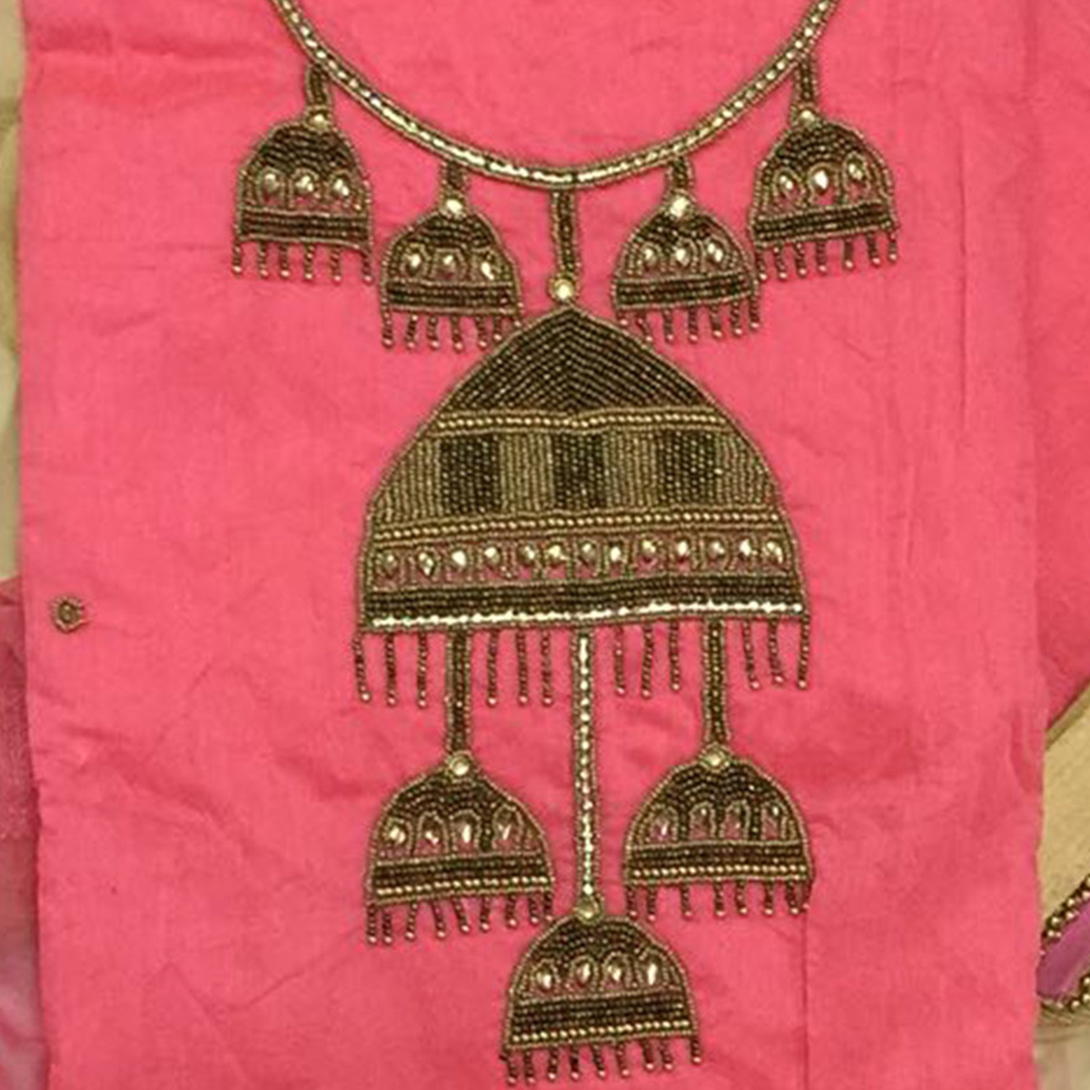 Impressive Pink Colored Partywear Embroidered Modal Dress Material
