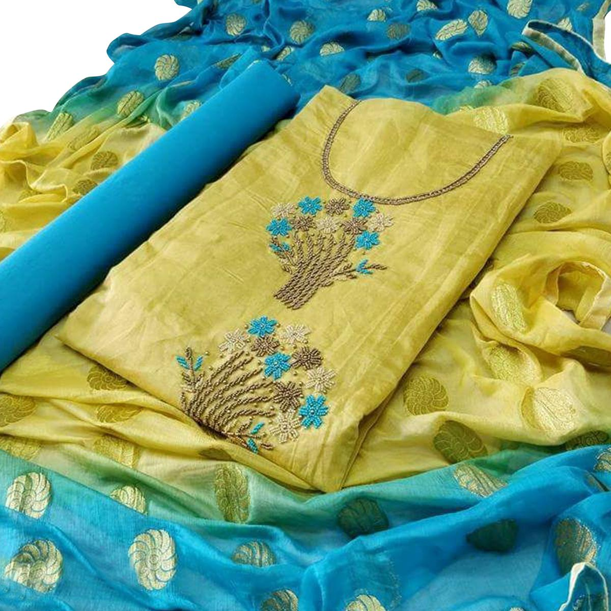 Demanding Lemon Green-Blue Colored Partywear Embroidered Modal Dress Material