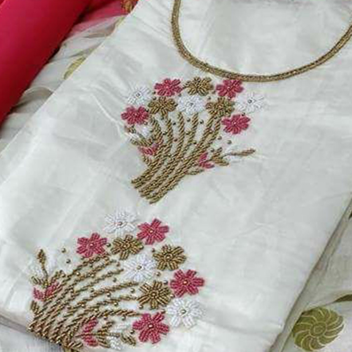 Desiring White-Pink Colored Partywear Embroidered Modal Dress Material