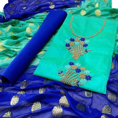 Charming Turquoise Green-Blue Colored Partywear Embroidered Modal Dress Material