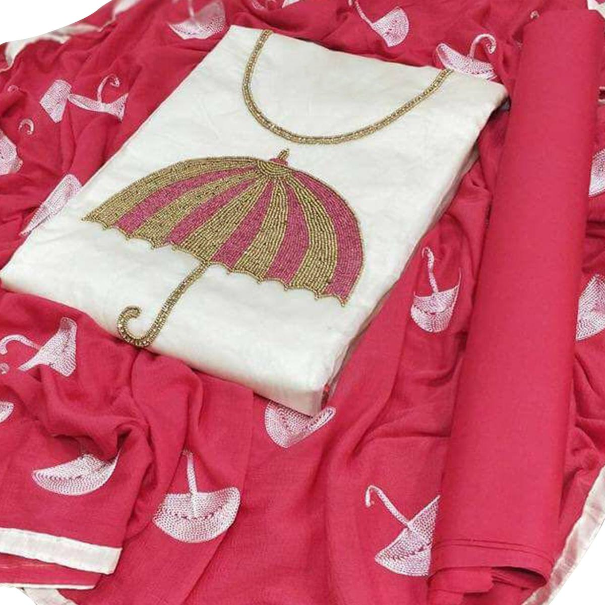 Opulent White-Pink Colored Partywear Embroidered Modal Dress Material
