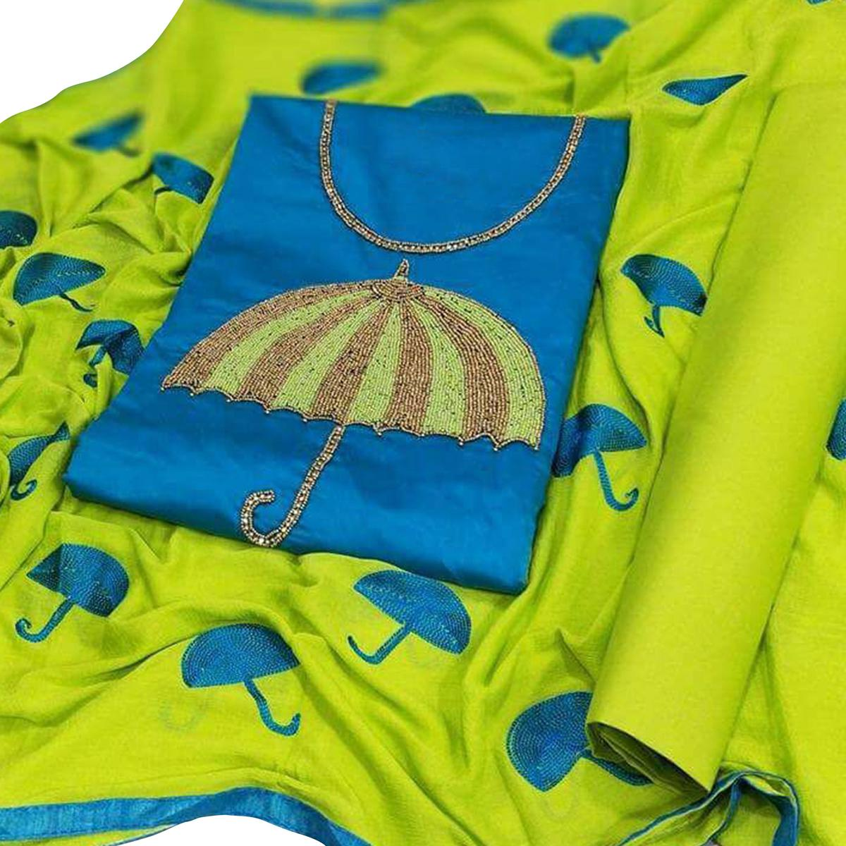 Flaunt Blue-Green Colored Partywear Embroidered Modal Dress Material