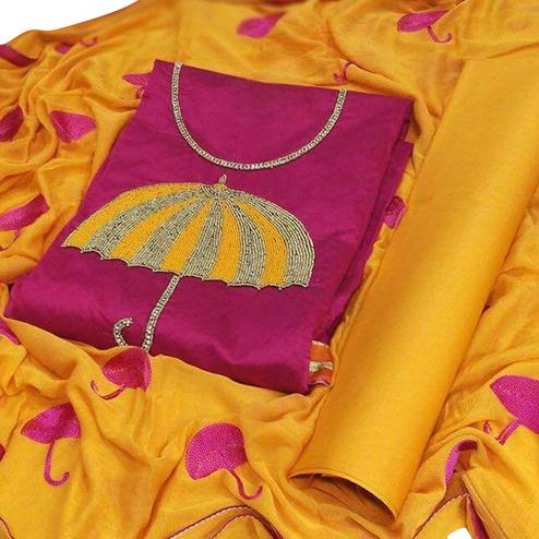 Trendy Pink-Yellow Colored Partywear Embroidered Modal Dress Material