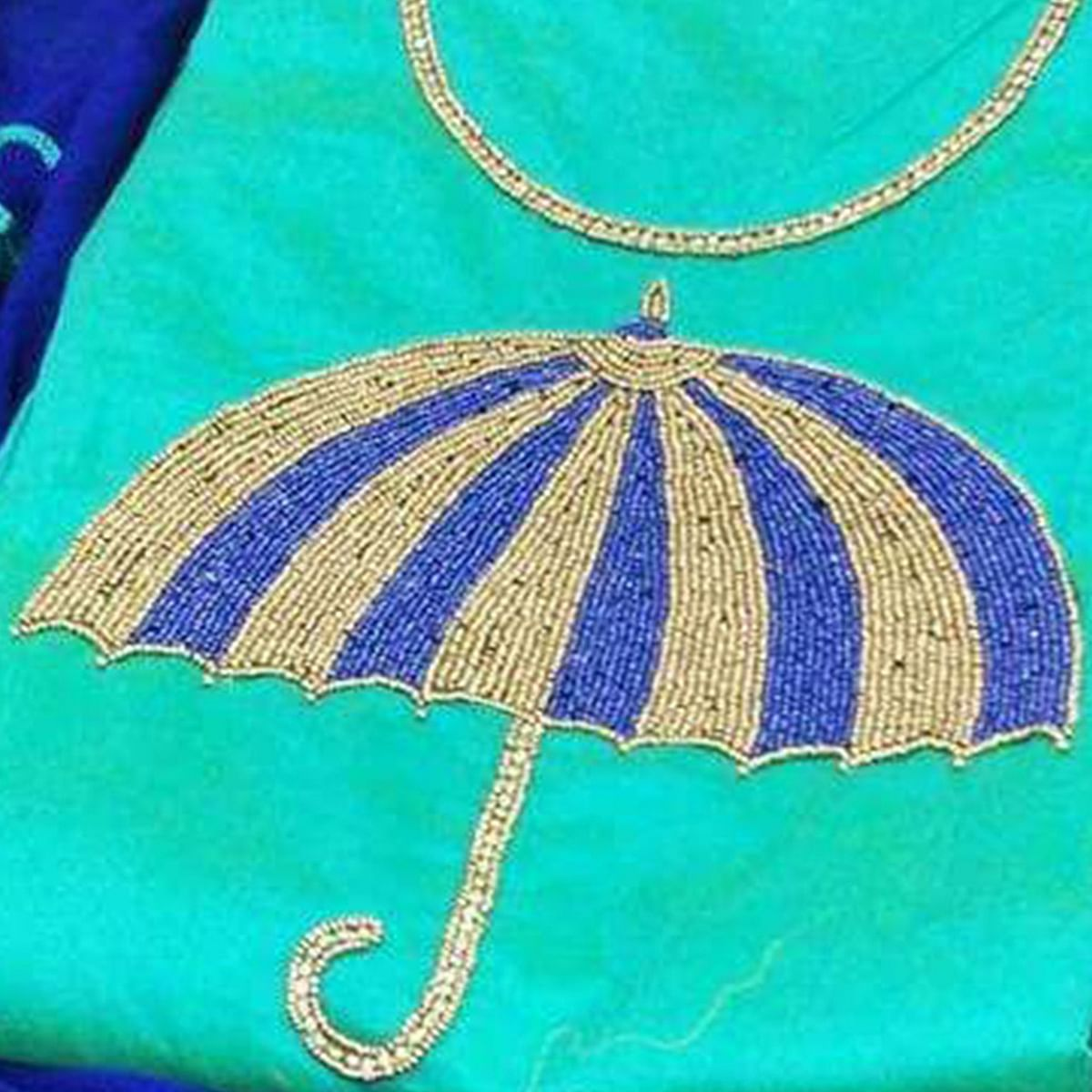 Traditional Aqua Blue-Blue Colored Partywear Embroidered Modal Dress Material