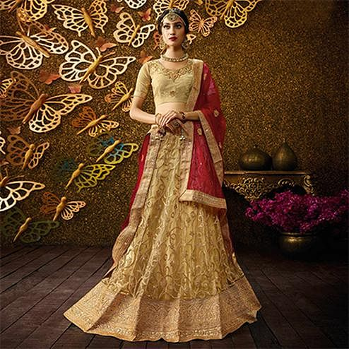 Elegant Golden-Red Designer Net Embroidered Lehenga Choli