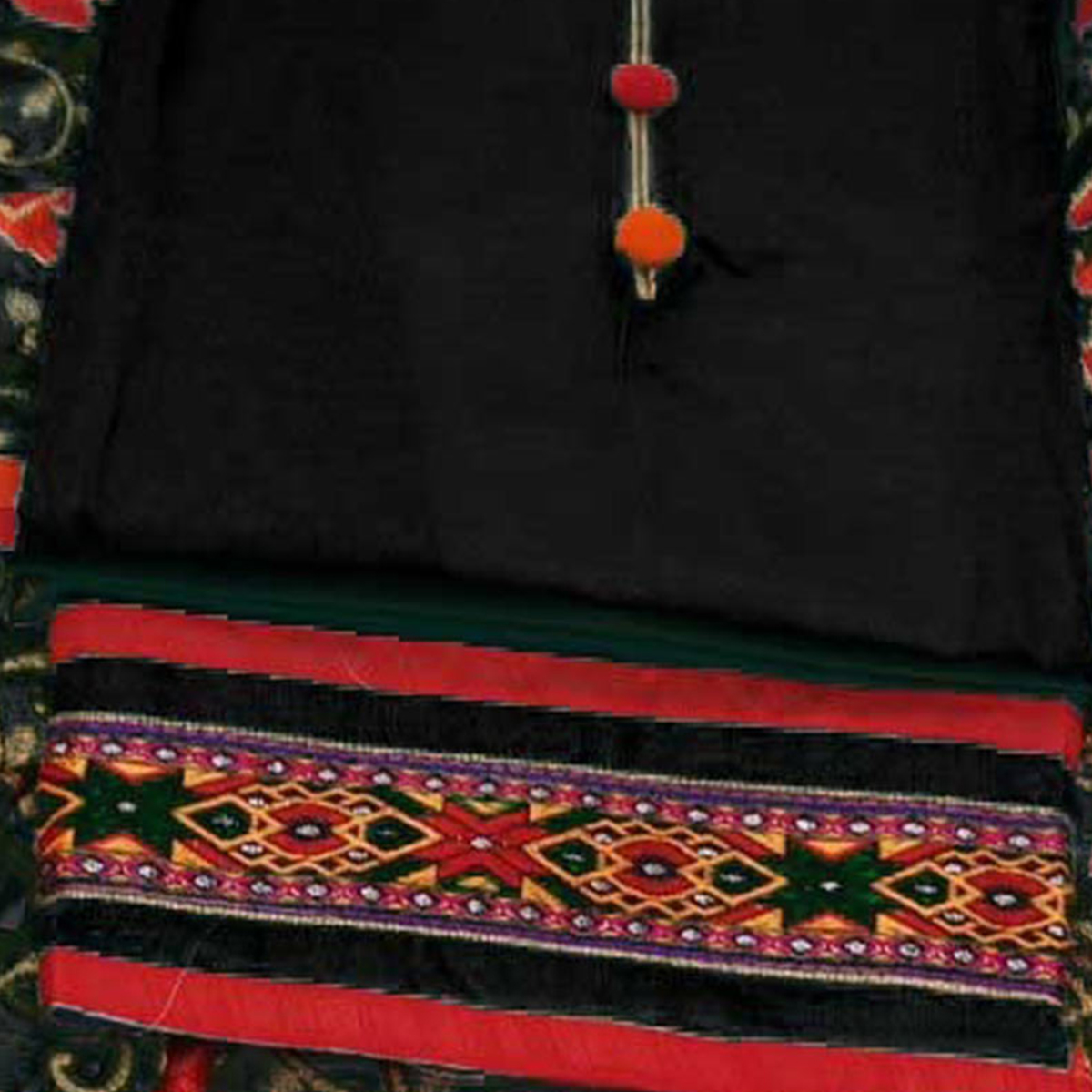 Preferable Black Colored Partywear Embroidered Modal Dress Material