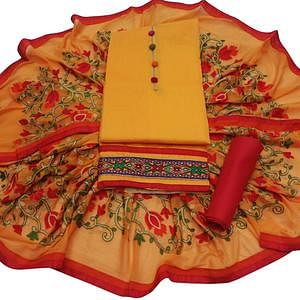 Gratifying Mango Yellow Colored Partywear Embroidered Modal Dress Material