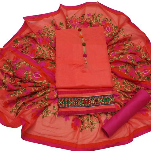 Dashing Peach Colored Partywear Embroidered Modal Dress Material