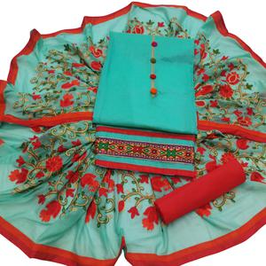 Glowing Aqua Blue Colored Partywear Embroidered Modal Dress Material