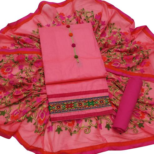 Ideal Pink Colored Partywear Embroidered Modal Dress Material