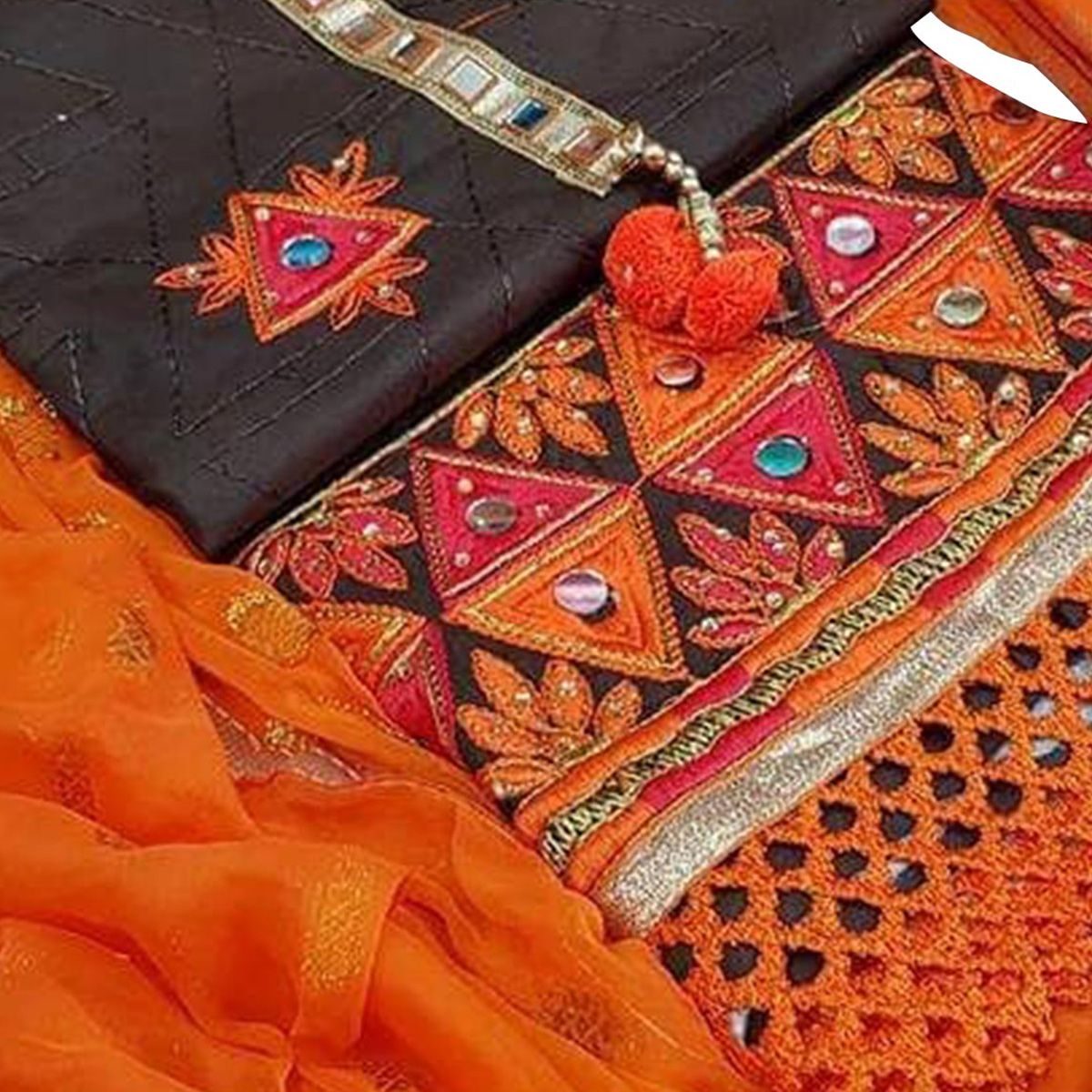 Elegant Black-Orange Colored Partywear Embroidered Modal Dress Material