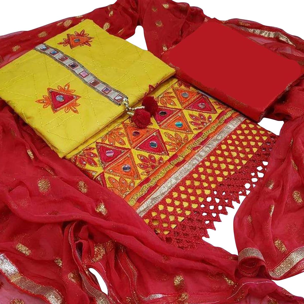 Dazzling Yellow-Red Colored Partywear Embroidered Modal Dress Material