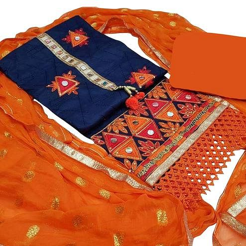 Glamorous Navy Blue-Orange Colored Partywear Embroidered Modal Dress Material
