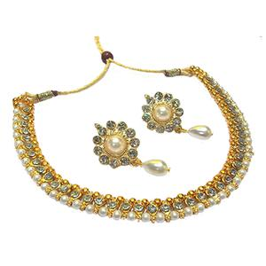 Pearl Drop Golden Polki Necklace Set