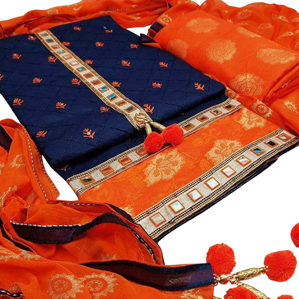 Latest Navy Blue-Orange Colored Partywear Embroidered Modal Dress Material