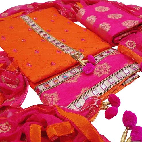 Exceeding Orange-Pink Colored Partywear Embroidered Modal Dress Material