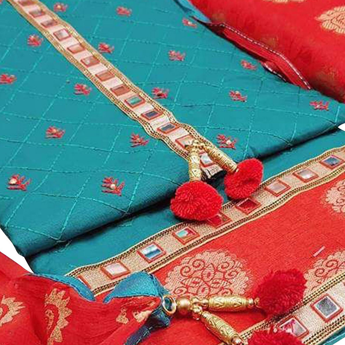 Flamboyant Sky Blue-Red Colored Partywear Embroidered Modal Dress Material