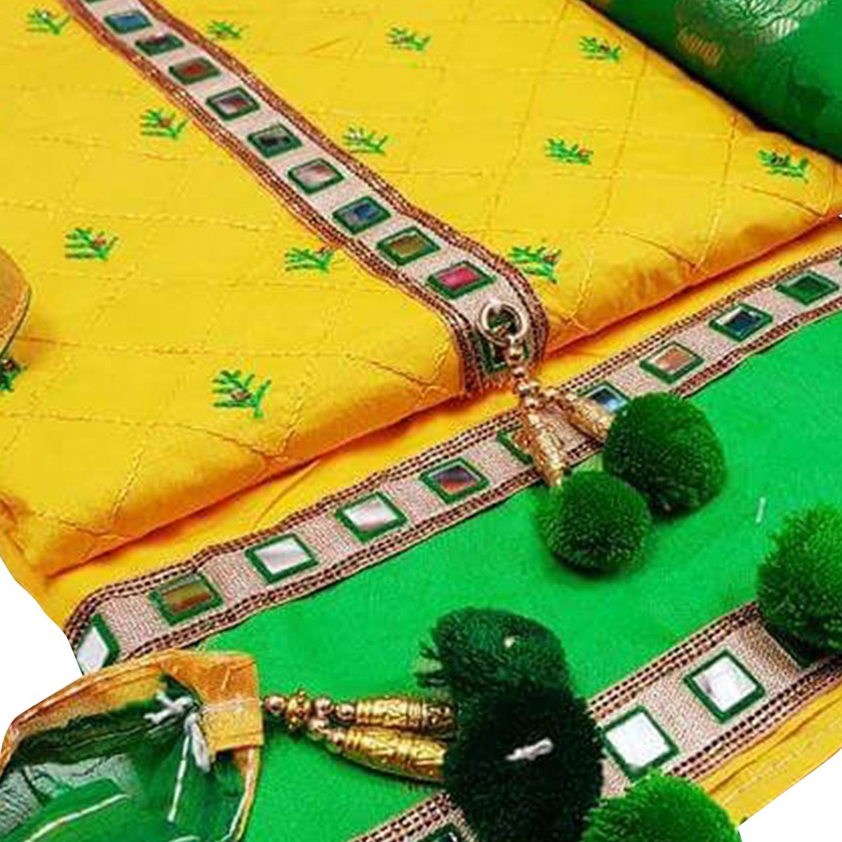Fab Yellow-Green Colored Partywear Embroidered Modal Dress Material