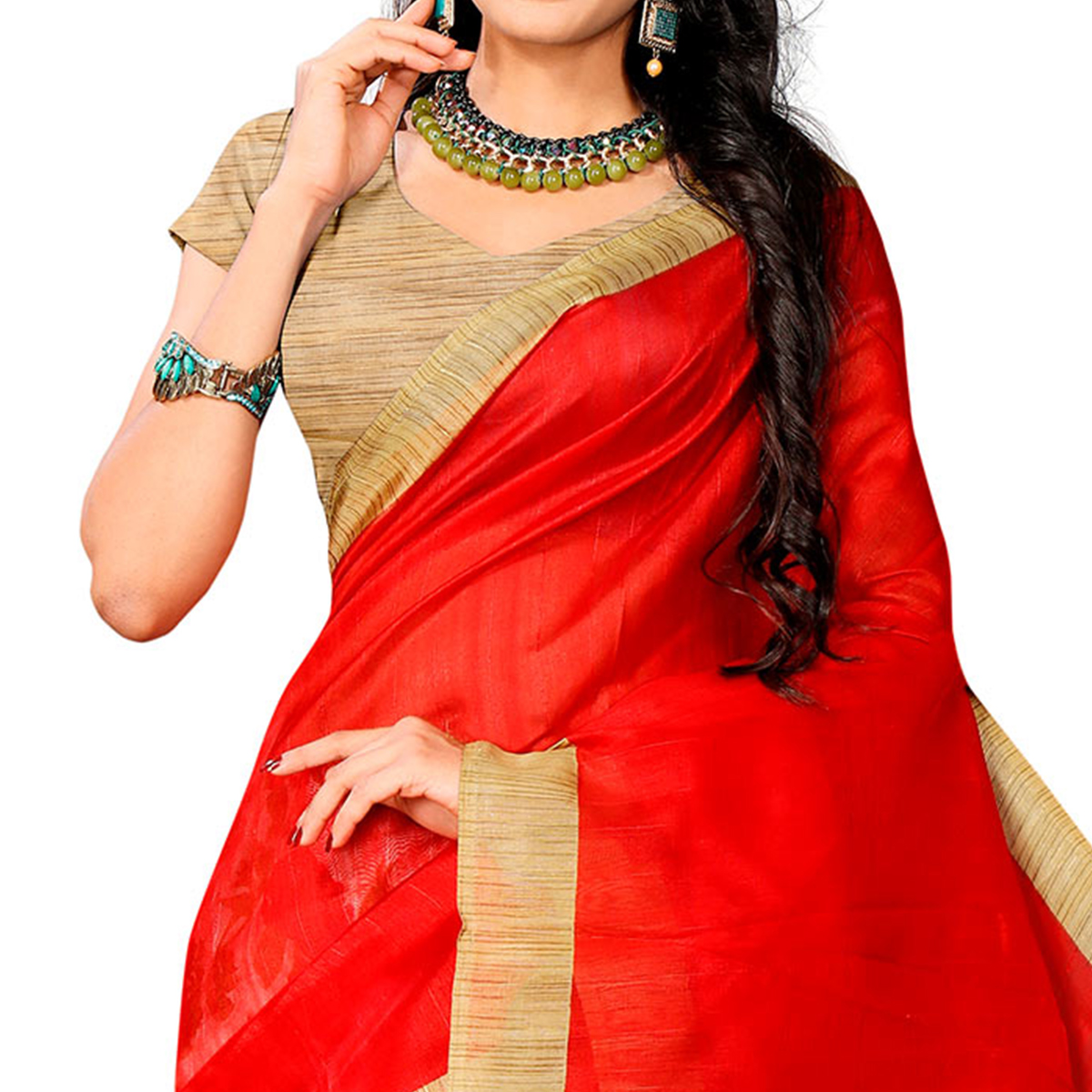 Glowing Red Colored Casual Printed Bhagalpuri Silk Half-Half Saree
