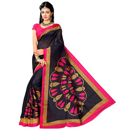 Demanding Navy Blue Colored Casual Printed Bhagalpuri Silk Saree