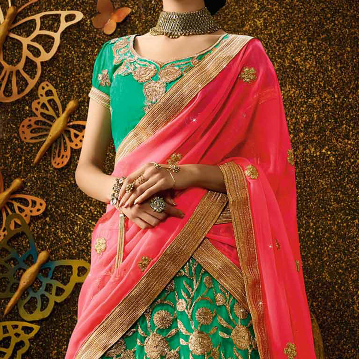 Dazzling Rama Green-Peach Designer Net Embroidered Lehenga Choli