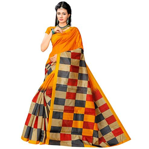 Beautiful Yellow Colored Casual Printed Bhagalpuri Silk Saree