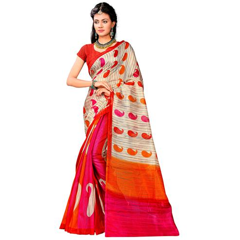 Adorning Multi Colored Casual Printed Bhagalpuri Silk Saree