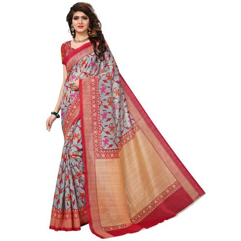 Eye-Catching Gray Colored Casual Printed Bhagalpuri Silk Saree