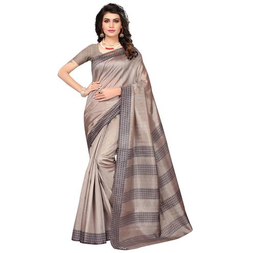Unique Copper Brown Colored Casual Printed Bhagalpuri Silk Saree