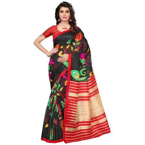 Lovely Black Colored Casual Printed Bhagalpuri Silk Saree
