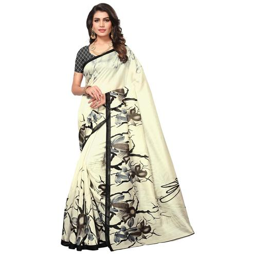 Gorgeous Cream Colored Casual Printed Bhagalpuri Silk Saree