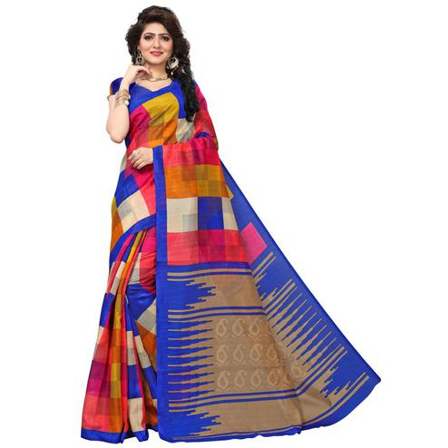 Exceptional Multi Colored Casual Printed Bhagalpuri Silk Saree