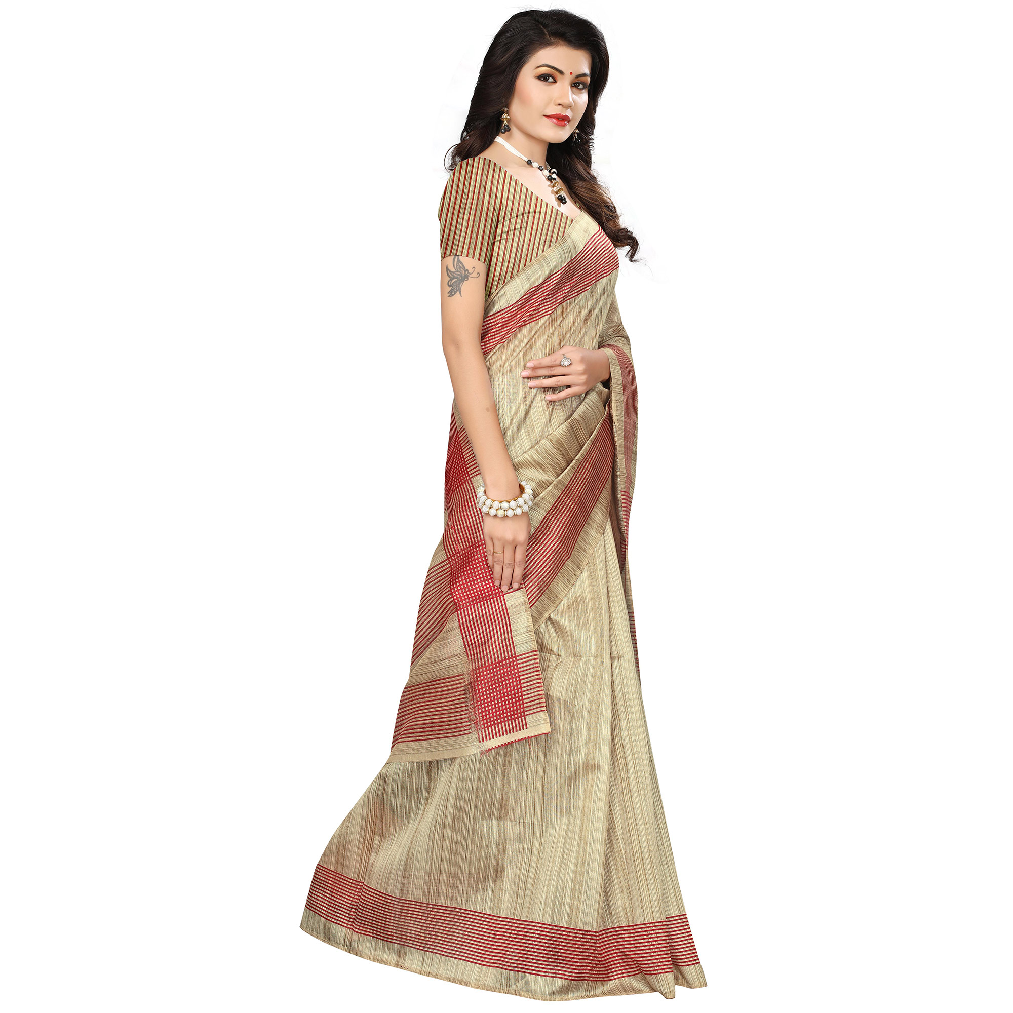 Classical Beige Colored Casual Printed Bhagalpuri Silk Saree