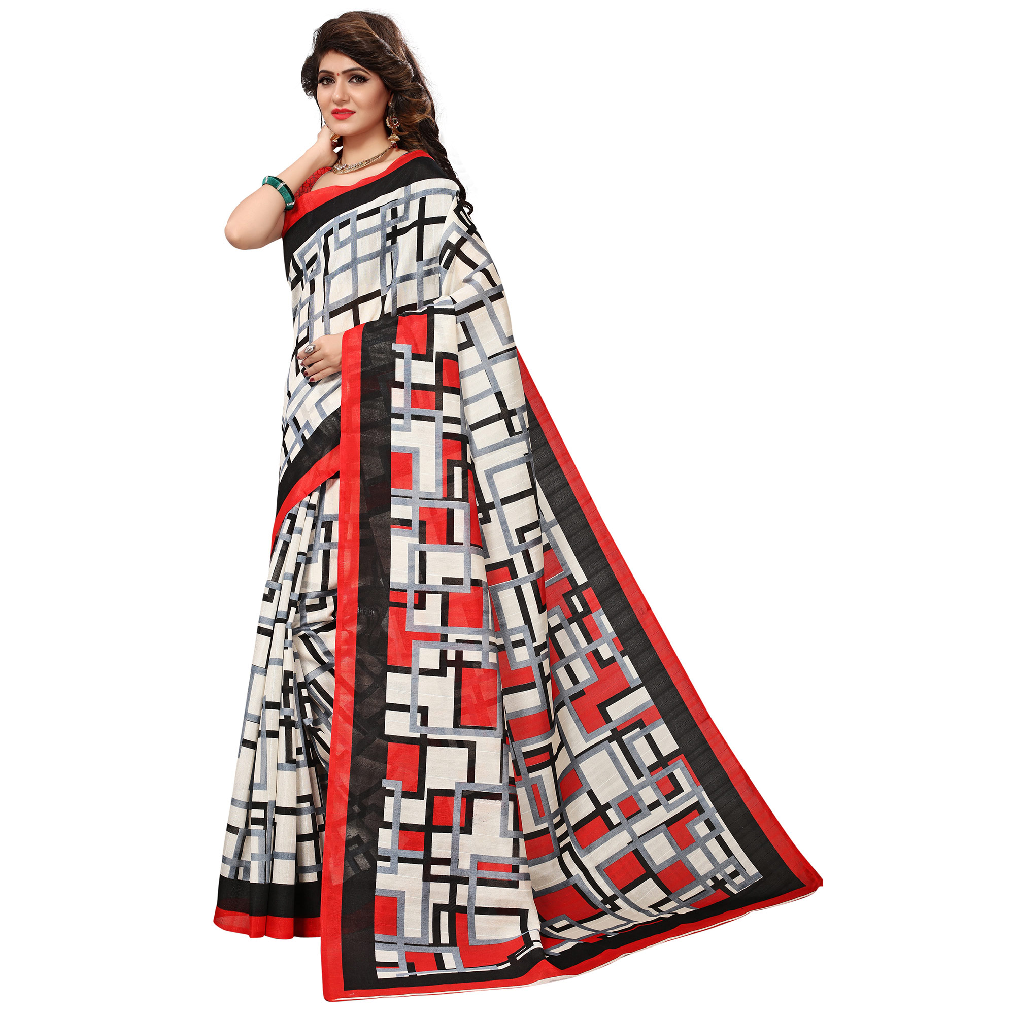 Desiring White Colored Casual Printed Bhagalpuri Silk Saree