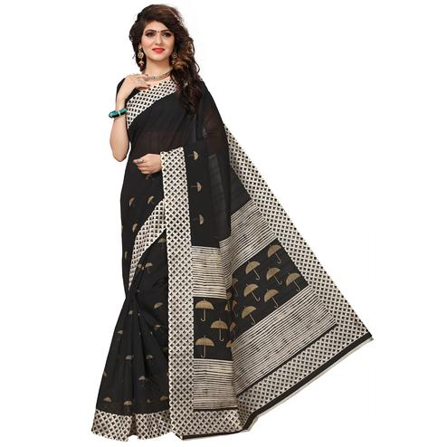 Mesmeric Black Colored Casual Printed Bhagalpuri Silk Saree