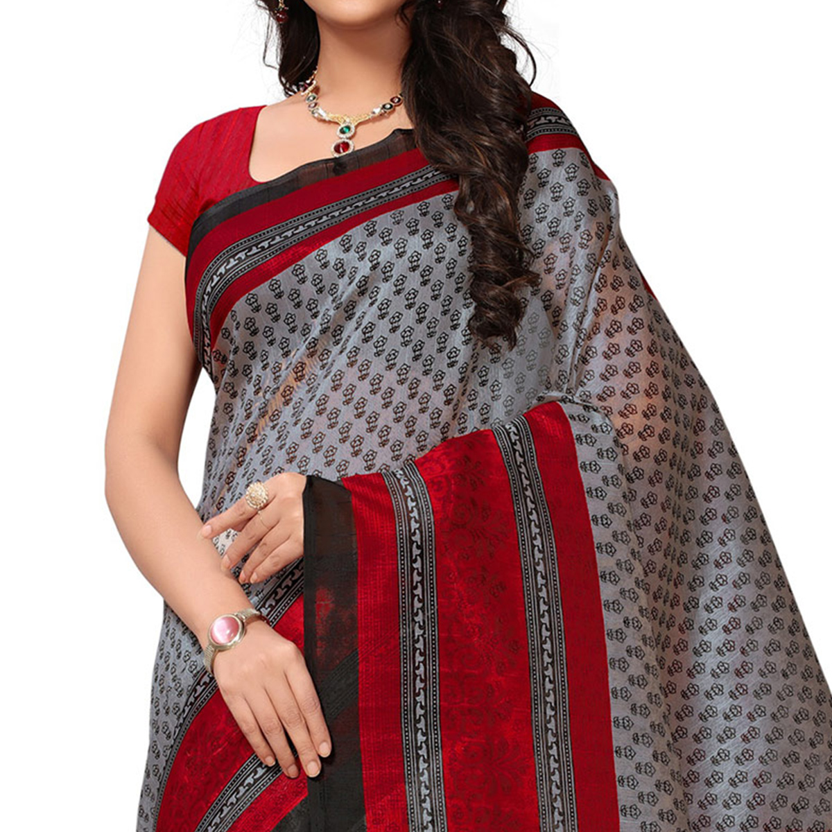 Attractive Gray-Red Colored Casual Printed Bhagalpuri Silk Saree